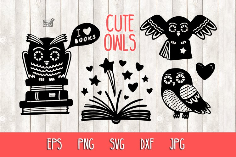Owls and books - SVG cut files example image 1