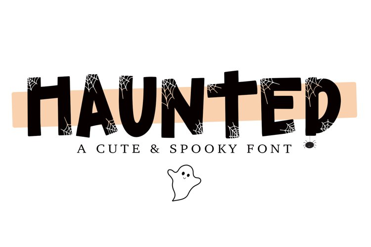 HAUNTED - a hand lettered cute and spooky faunt example image 1
