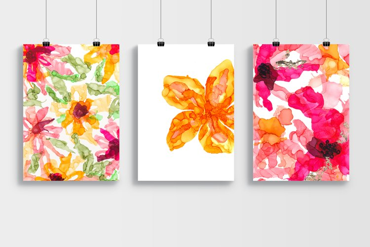 Set of alcohol ink paintings. Floral theme.