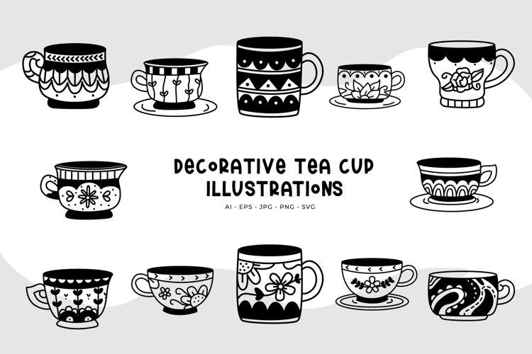 Decorative Tea Cup Illustrations example image 1