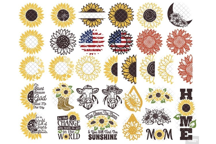 Sunflower SVG Bundle Monogram Quotes with PNG, DXF, EPS, JPG example image 1
