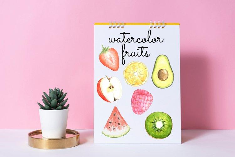 Watercolor fruit cliparts, Lemons, Apples, Watermelon, Kiwi example image 1