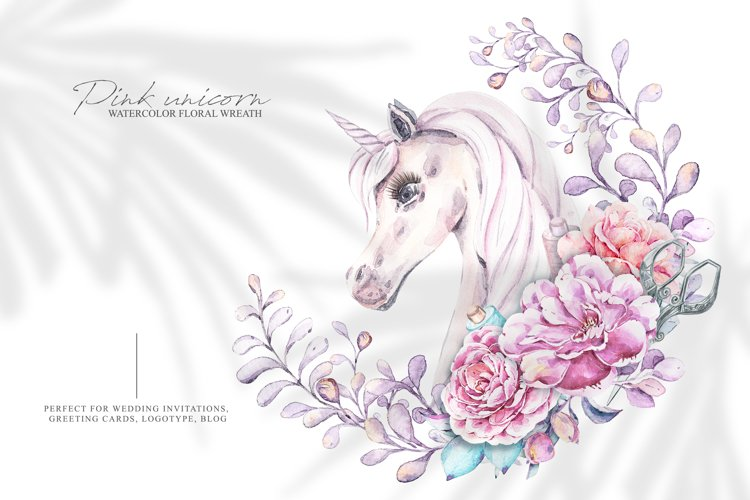 Watercolor unicorn clipart. Floral wreath. Pink peony flower