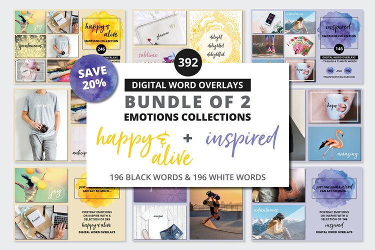 Digital Word Clipart BUNDLE - 392 Happy & Inspired Emotions