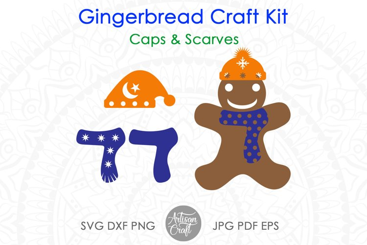 Gingerbread man SVG kit, Christmas paper crafts, clip art example 3