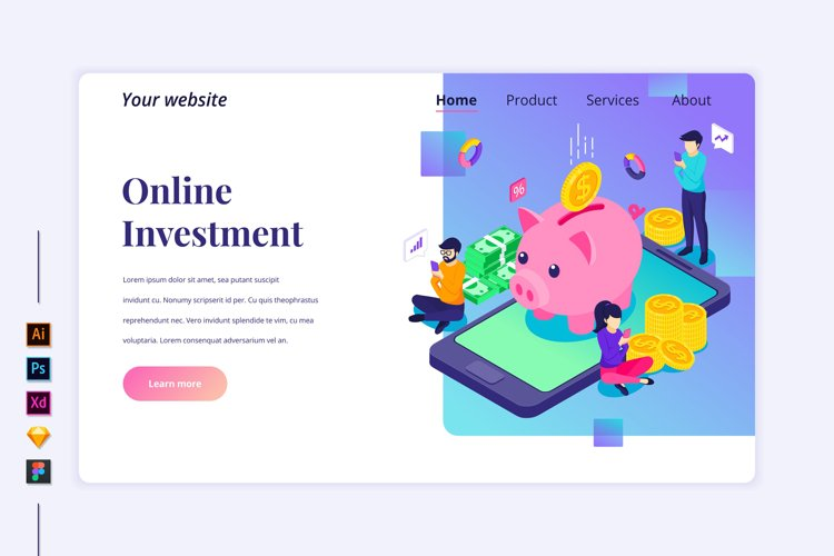 Isometric Online Investment Landing page illustration example image 1