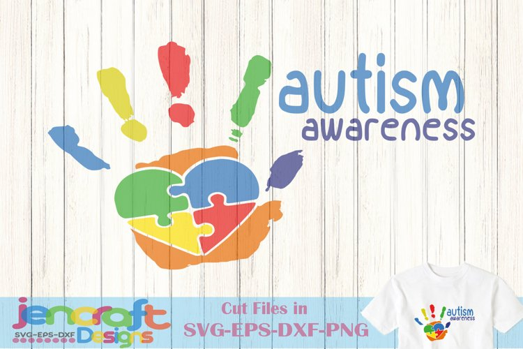 Autism Awareness Puzzle Hand SVG Cut file example image 1