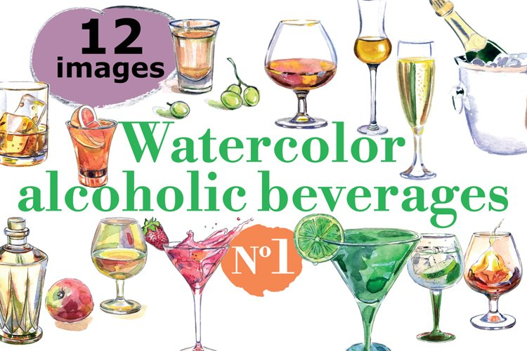 Watercolor alcohol vector set example image 1
