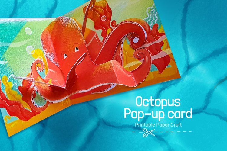 Octopus Popup card for kids and parents with ocean animals