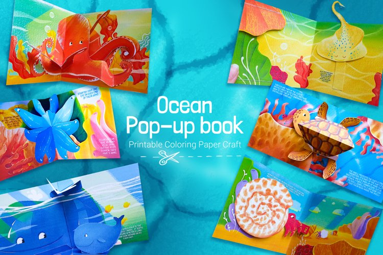 Popup book for kids and parents with ocean animals
