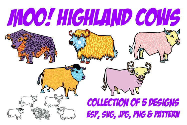 Highland Cow Cartoon Collection PNG, JPG, ESP, Pattern, SVG example image 1