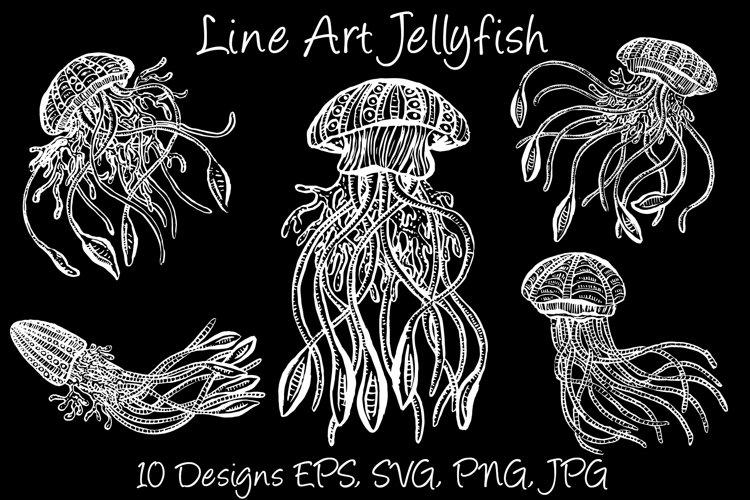 White Line Art Cartoon Jellyfish Octopus Deep Sea Creatures example image 1