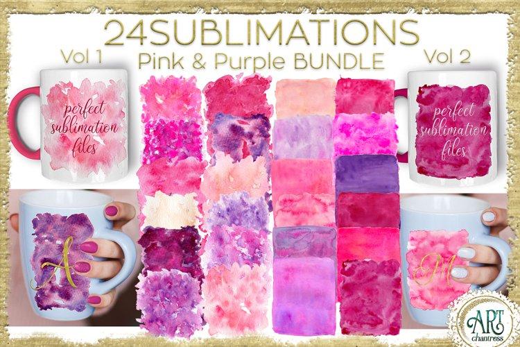 Sublimation BUNDLE Watercolor Pink Purple Vol 1 & Vol 2 PNG
