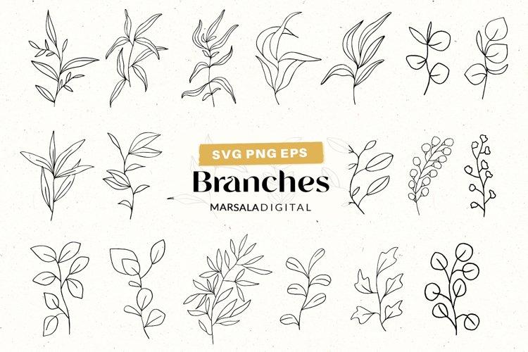 Botanical SVG bundle Hand drawn Leaves Line art Clipart