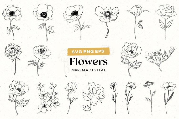 Flower SVG Bundle, Wildflowers SVG bundle, Flowers Clipart