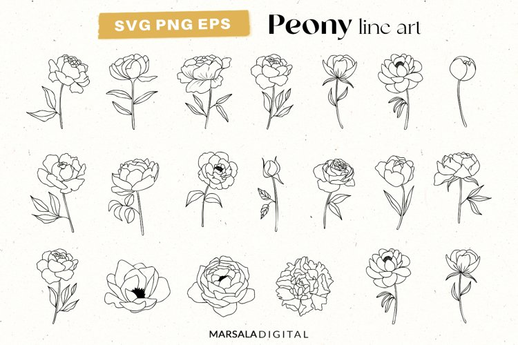 Peony SVG Clipart, Flower SVG Bundle, Peony svg, Floral svg
