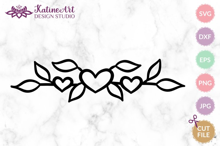 Floral heart text divider, leaves decorative svg cut file example image 1