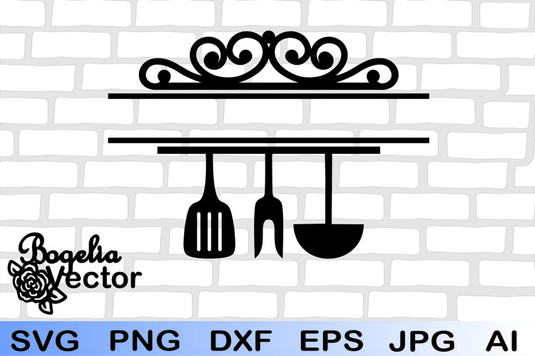 Kitchen Tools Split Frame Monogram Svg, Kitchen Utensils Svg