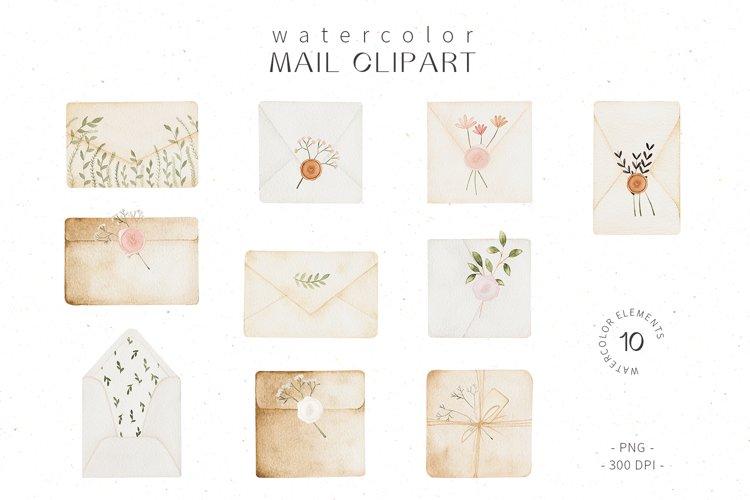 Watercolor mail clipart, envelope sticker clipart