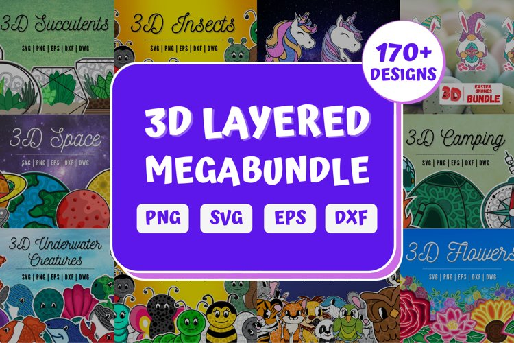 3D Layered SVG Bundle | Megabundle | Mandala