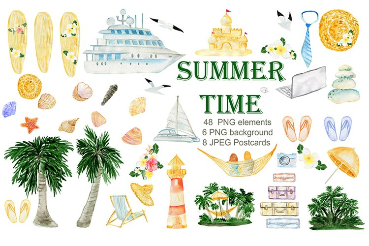 Summer. Watercolor Clipart. Watercolor Holiday rentals set. example image 1