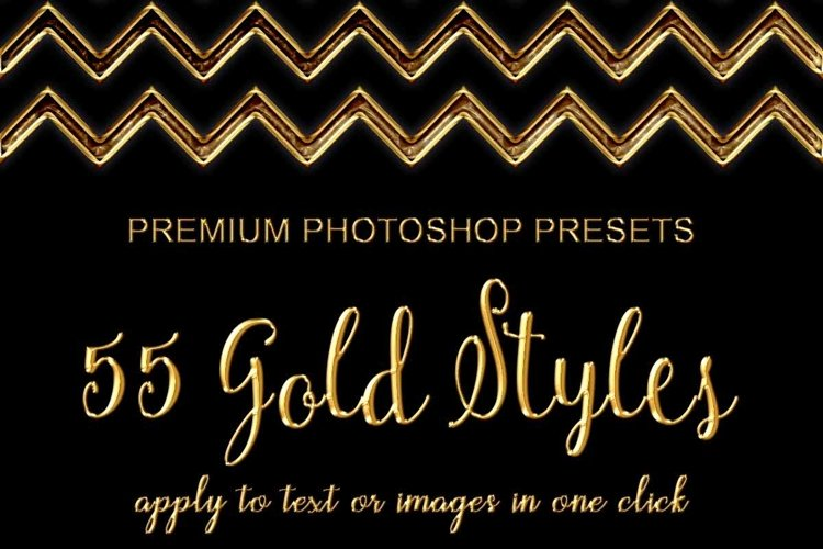 55 Photoshop Text Effects, Gold Foil Effect, Gold Stamp, Embossed Gold, ASL FX Styles, One Click FX