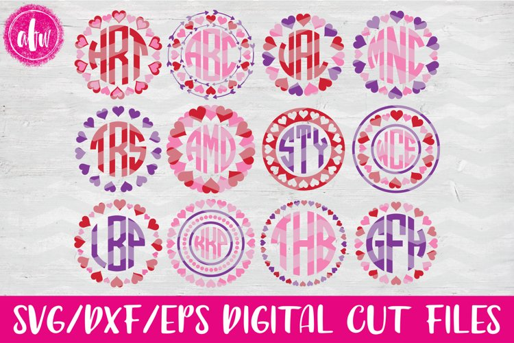 Valentine Heart Monograms - SVG, DXF, EPS Cut Files