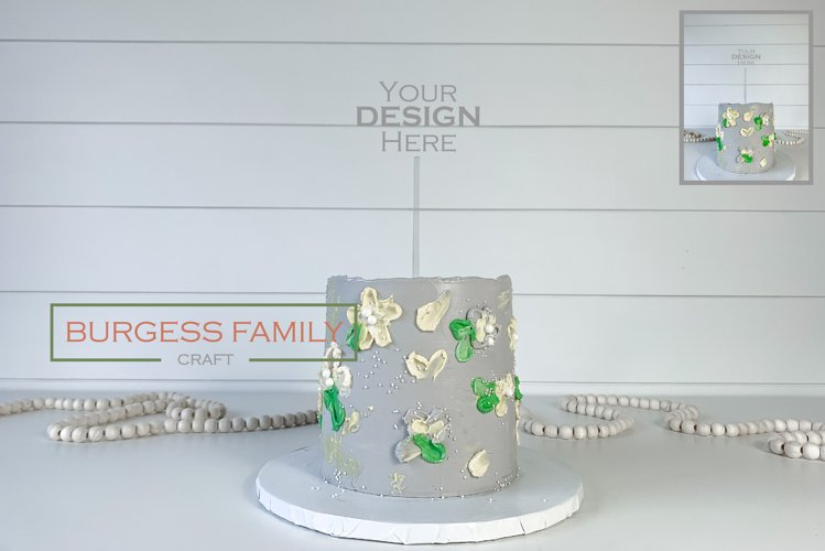 Mockup Cake Toppers Acrylic Stick topper Birthday | JPEG example image 1