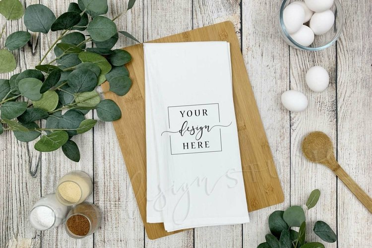 White Flour Sack Tea Towel Mockup Farmhouse Dish Towel
