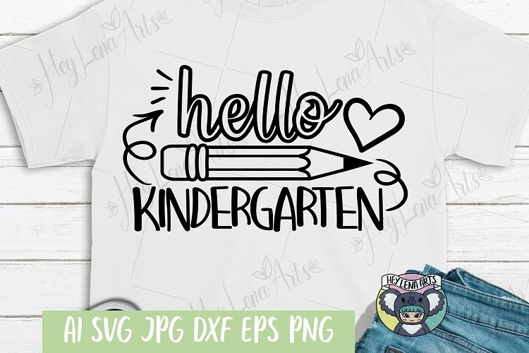 Hello Kindergarten svg, Files for Cricut, Cut File, png dxf example image 1