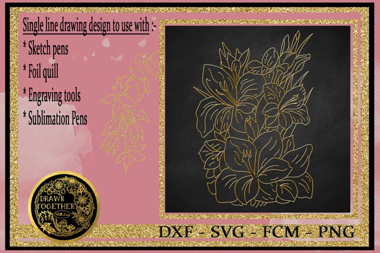 Gladiolus - Single line for Foil Quill, Digi Stamp. example image 1