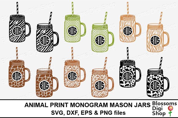 Animal Print Monogram Mason Jars 116759 Monograms Design Bundles