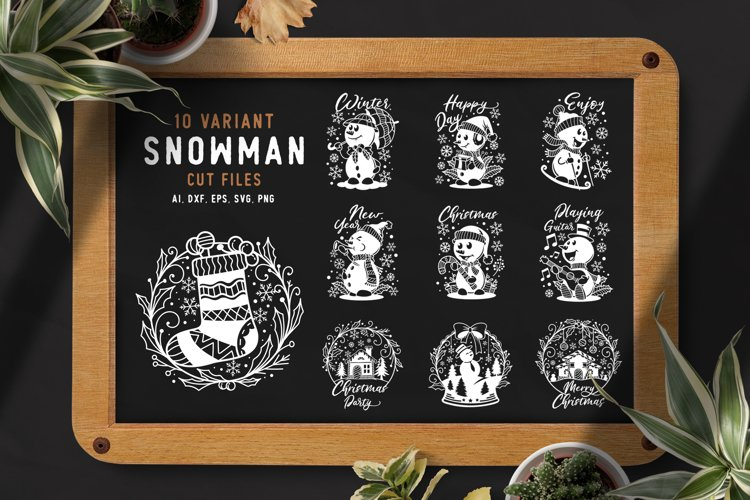 10 Variant Snowman Cut Files SVG example image 1