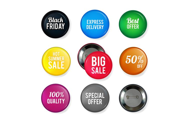 Vector round glossy badges with different advertising offers example image 1