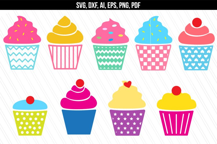 Cupcakes SVG/ DXF cutting files example image 1