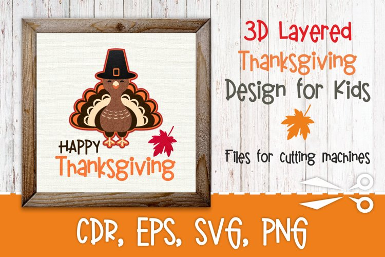 3d layered Thanksgiving design with turkey