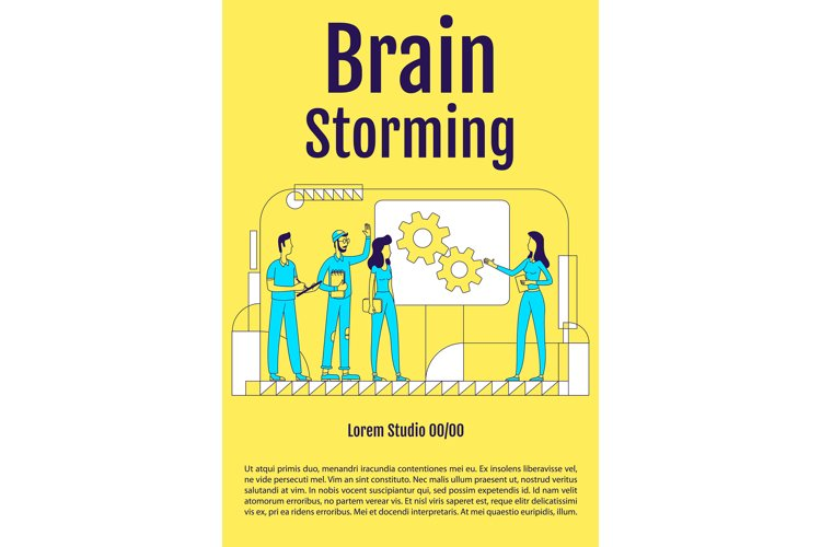 Brainstorming poster flat silhouette vector template example image 1