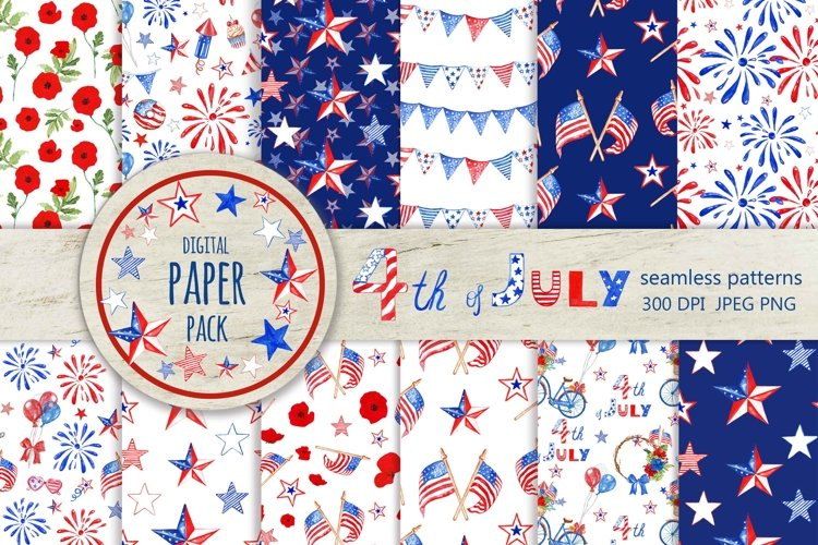 4th of July Digital Paper Pack USA Flag Seamless patterns example image 1