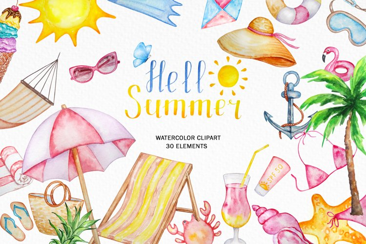 Tropical Clip Art - Watercolor Summer Clipart example image 1