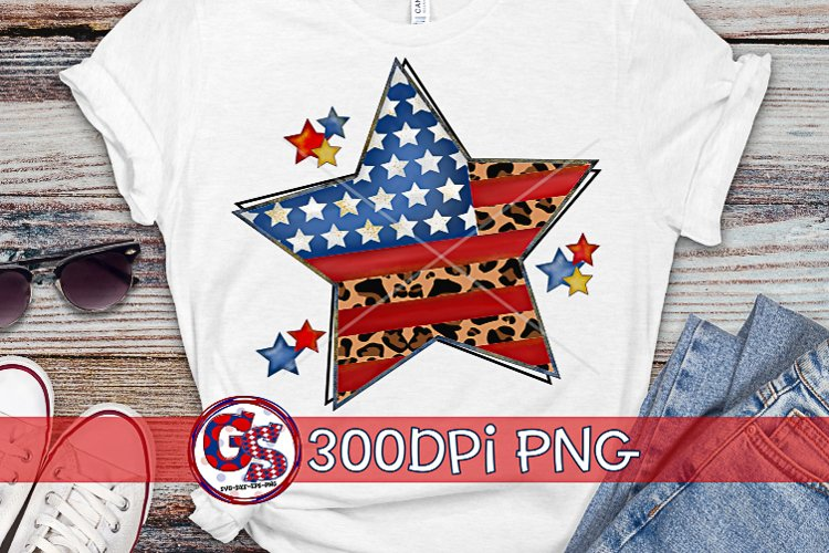 American Flag Leopard Star Sublimation PNG | July 4th PNG