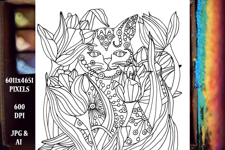 Cat In the Tulips Coloring Book Page/Poster