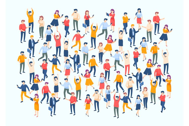 Isometric people crowd. Large people group, different male a example image 1
