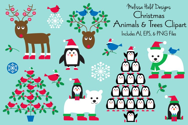 Christmas Animals & Trees Clipart
