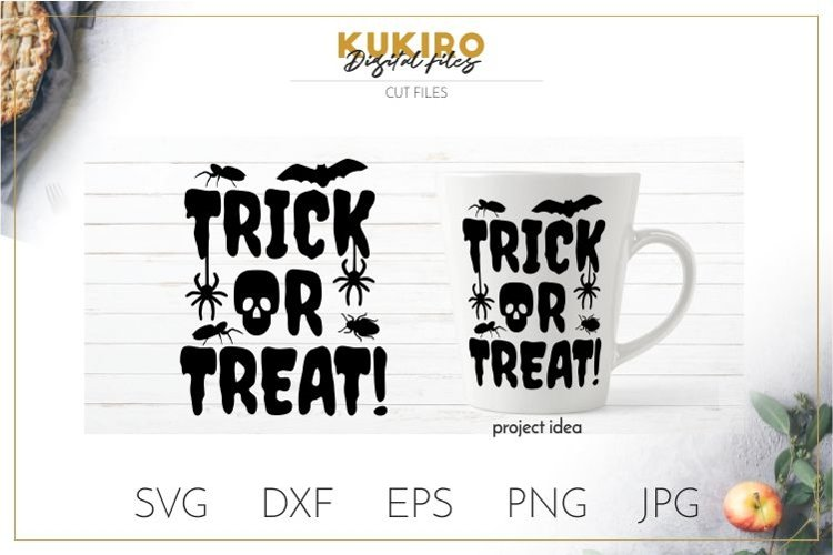 Trick or Treat SVG - Halloween SVG, bugs, bat, spider, skull example image 1