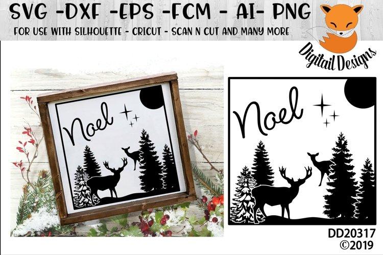 Glass Block Winter Forest Scene Christmas Deer SVG example image 1