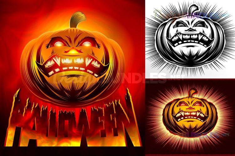 Vector Halloween Pumpkin Smiling Horror Hell Fire Lettering