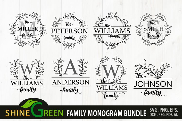 Family Monogram Bundle SVG 8 Flower Farmhouse Home Spring
