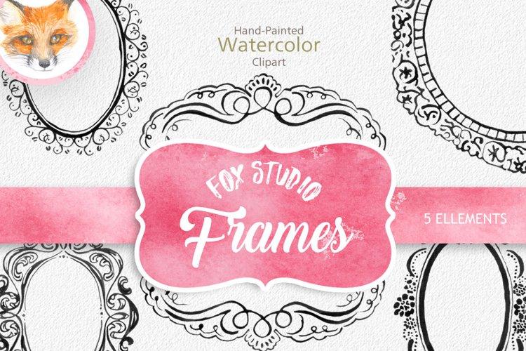 Digital Download Watercolor Cliparts Frames Flourish Digital example image 1