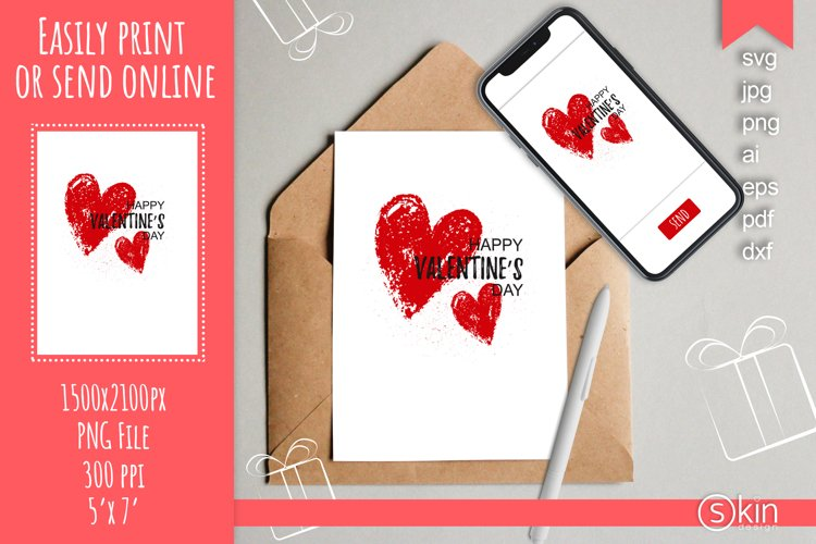 Happy Valentines Day card template, red hearts, svg