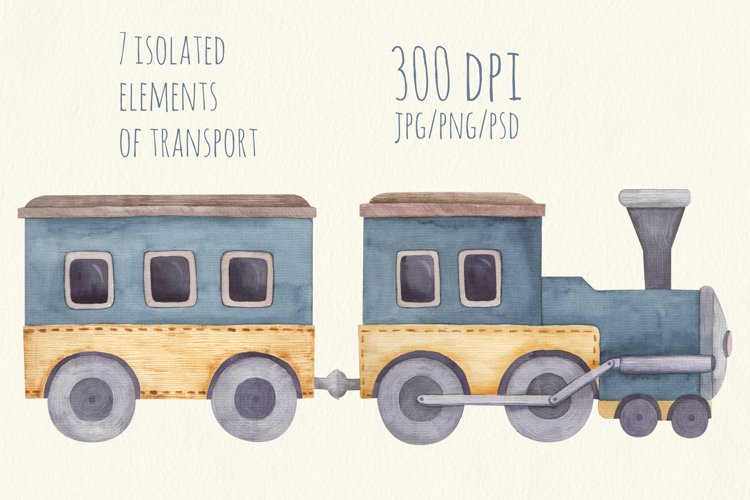 Baby transport watercolor set, airplane, submarine, train example 1